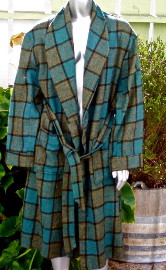 Vintage Mid Century Robe Plaid Wool Parkella Flannel Blues
