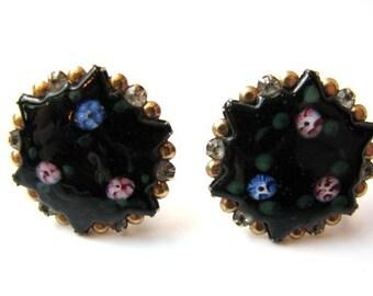Floral Screw back Earrings, Hand Painted, Black Enamel, Rhinestone Clusters, Black Star, Blue and Pink flowers, 1950's Costume Jewelry