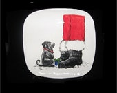 Puppy and Santa Plate