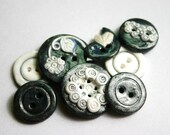 Ebony and Ivory (handmade buttons set of 8)