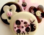 Pink and Brown Ladybug (handmade buttons set of 4)