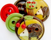 Cherry Prickles (handmade buttons set of 5)