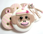 Miss Sock Monkey  (Buttons set of 6)