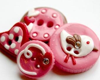 Sweetie Tweetie (handmade buttons set of 4)