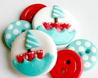 Sail Away (handmade buttons set of 6)