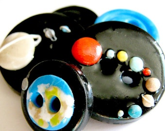 Outer Space (handmade buttons set of 5)