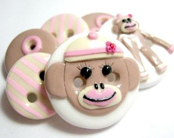 Miss Sock Monkey  (Buttons set of 6)
