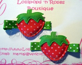 STRAWBERRY Hair Clips (Boutique Set of 2)  Infant/Toddler/Girl