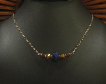 Dazzling Cobalt, Gold & Berry Colored Faceted Glass Beaded Wire Wrapped Pendant Necklace