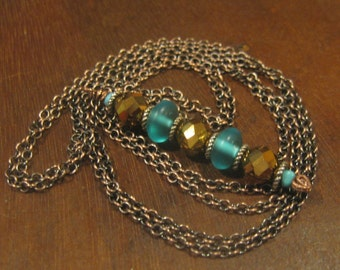 Gold Faceted Glass & Smooth Aqua Glass Beaded Drop Pendant Necklace