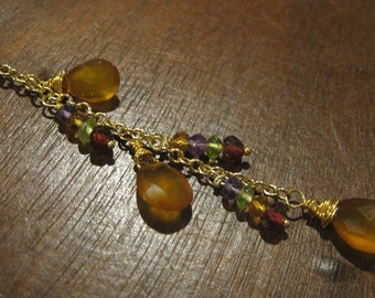 Wire Wrapped Honey Chalcedony Briolette, Gemstone Gold Drop Pendant Necklace