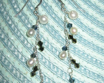 Wire Wrap Long Dangling Crystal and Pearl Earrings