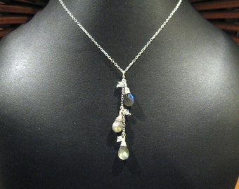 Wire Wrap Cascading AAA Labradorite Tear Drop  Pendant Necklace