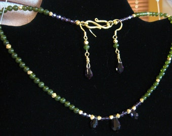 Nephrite Jade, Swarovski Crystal and Vermeil Necklace And Earring Set