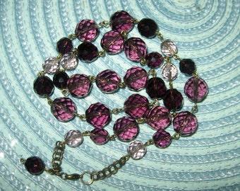 Gorgeous Grape Hued Czech Glass Beaded Link Necklace