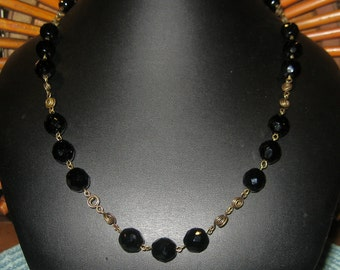 ON SALE Brass Wire Swirly Link Fire Polished Black Faceted Czech Glass Beaded Necklace