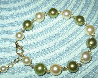 Green And Cream Glass Pearl Gold Tone Bracelet