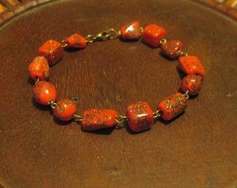 Sparkling Gold Flecked Red Glass Beaded Bracelet