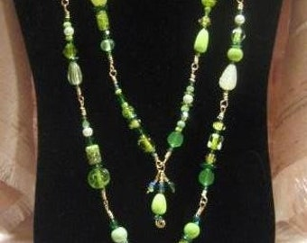 Hand Wrapped Non Tarnish Brass Long Green Glass Beaded Two Stranded Beaded Necklace Boho Mardi Spring