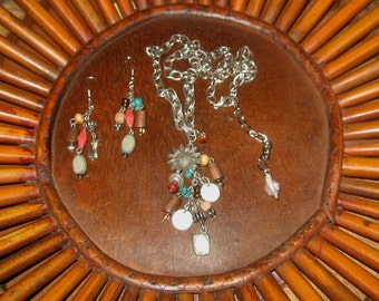 ON SALE Recycled/Re-purposed Vintage Costume Jewelry Necklace & Earring Set
