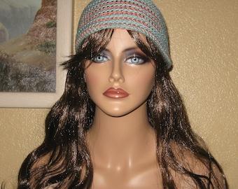 Lite Weight Aqua And Peach Crochet Spiral Striped Beanie