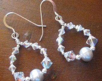 ON SALE Hand Wrapped Sterling Silver And Swarovski Crystal Earrings