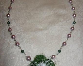 Powder Pink Glass Pearl, Green Adventurine, Sterling Silver, Crochet Pendant Necklace