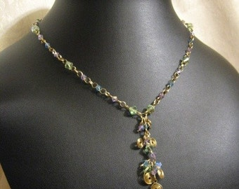 Colorful Spring Inspired Whimsical Crystal Gold Filled Hand Crafted Chain and Pendant Necklace