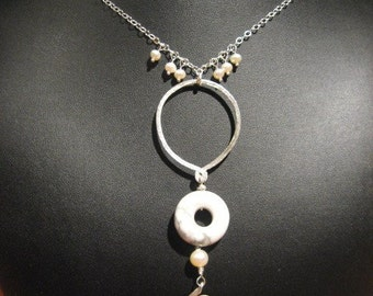 Sterling Silver Necklace With Hammered/Textured/Wrapped Howlite And Pearl Pendant