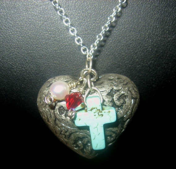 Heart, Cross, Pearl, Crystal Pendant Faith Expression Necklace