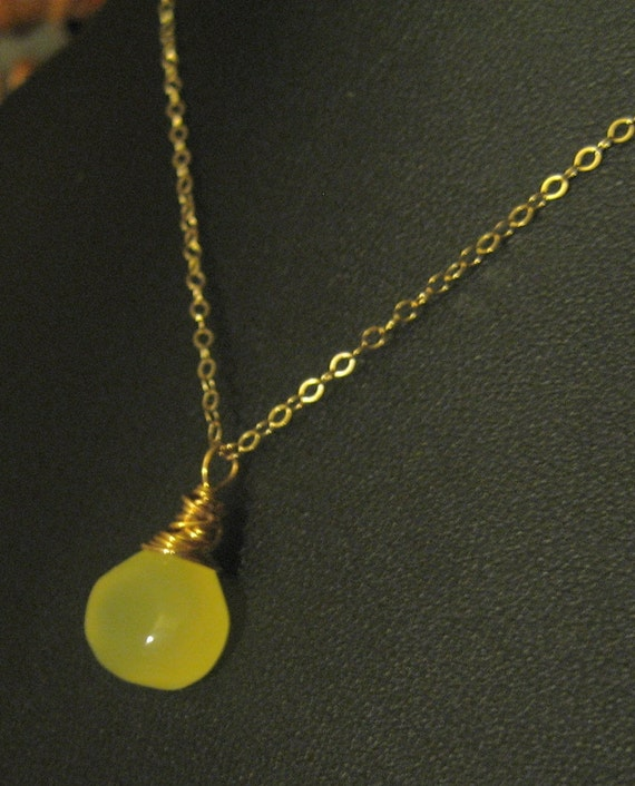 Yummy Gold Filled Wire Wrap Chalcedony Lemon Drop Briolette Pendant Necklace