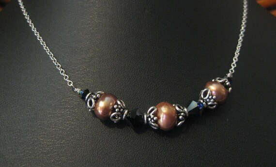 Sterling Silver Necklace, Pearl Necklace, Copper Pearls, Bali Silver, Swarovski Crystal, Wire Wrap Necklace, One Of A Kind Necklace