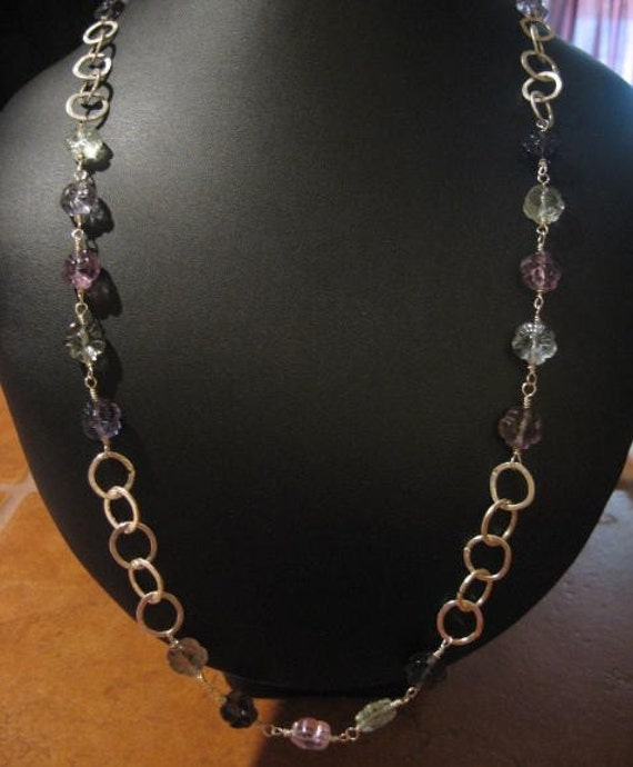 Hand Forged,  Wrapped, Hammered, Textured Rainbow Fluorite Flower Beaded Necklace