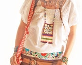 Vintage Mexican Blouse embroidered white peasant bohemian gypsy hippie chic
