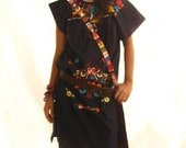 Beautiful handmade Mexican embroidered tunic dress M or L Magic Night color dark navy