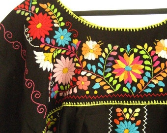 Black mexican embroidered dress