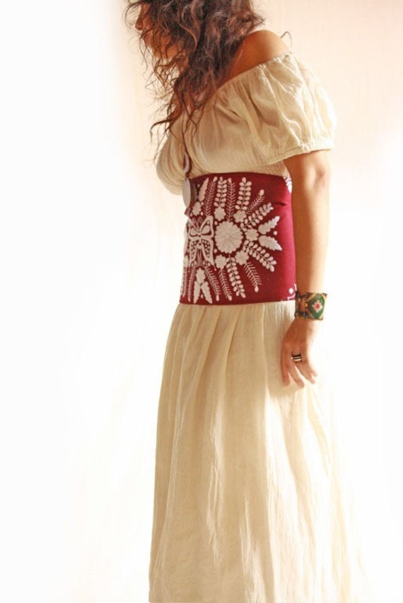 Mexican corset embroidered blouse dress vintage by