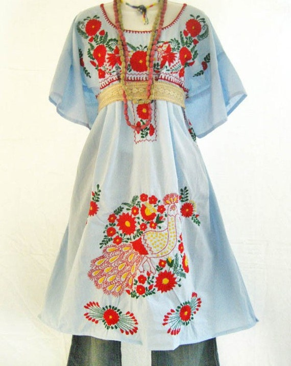 Items similar to mexican embroidered dress tunic peasant