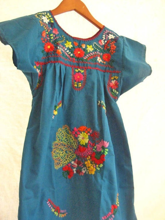 Mexican mini dress hand embroidered tunic by aidacoronado