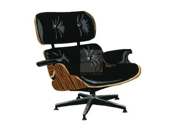 For Charles and Ray Eames - Leather Lounge Chair Square Print