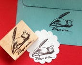 Feather Pen Rubber Stamp - Please Write - Photopolymer - Handmade by BlossomStamps