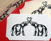 Double Elephant Rubber Stamp - Optional Personalization  - Wedding Love Heart Valentine - Handmade Rubber Stamp
