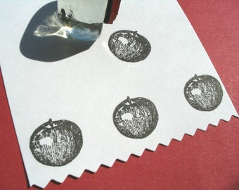 Tiny Apple Rubber Stamp - Handmade rubber stamps by BlossomStamps