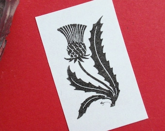 Thistle Flower Rubber Stamp - Handmade by Blossom Stamps