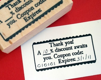 Coupon Code Rubber Stamp Scallop edging - Photopolymer - Handmade by BlossomStamps