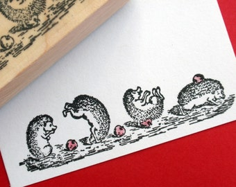 Hedgehog Porcupine Illustration Rubber stamp - Handmade by BlossomStamps