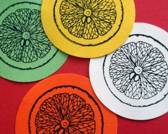 Citrus Slice Orange Lemon Lime Rubber Stamp  - Handmade by BlossomStamps