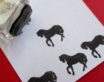 Horse Silhouette Rubber Stamp  - Handmade rubber stamp by BlossomStamps