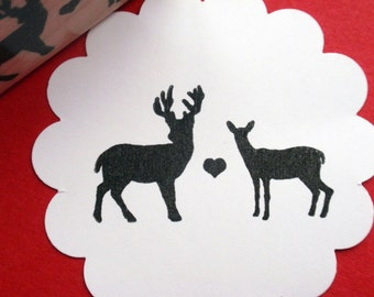 Buck and Doe Deer Love Rubber Stamp -  Handmade by Blossom Stamps