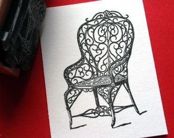 Antique Wicker Garden Chair - Handmade  Rubber Stamp by BlossomStamps